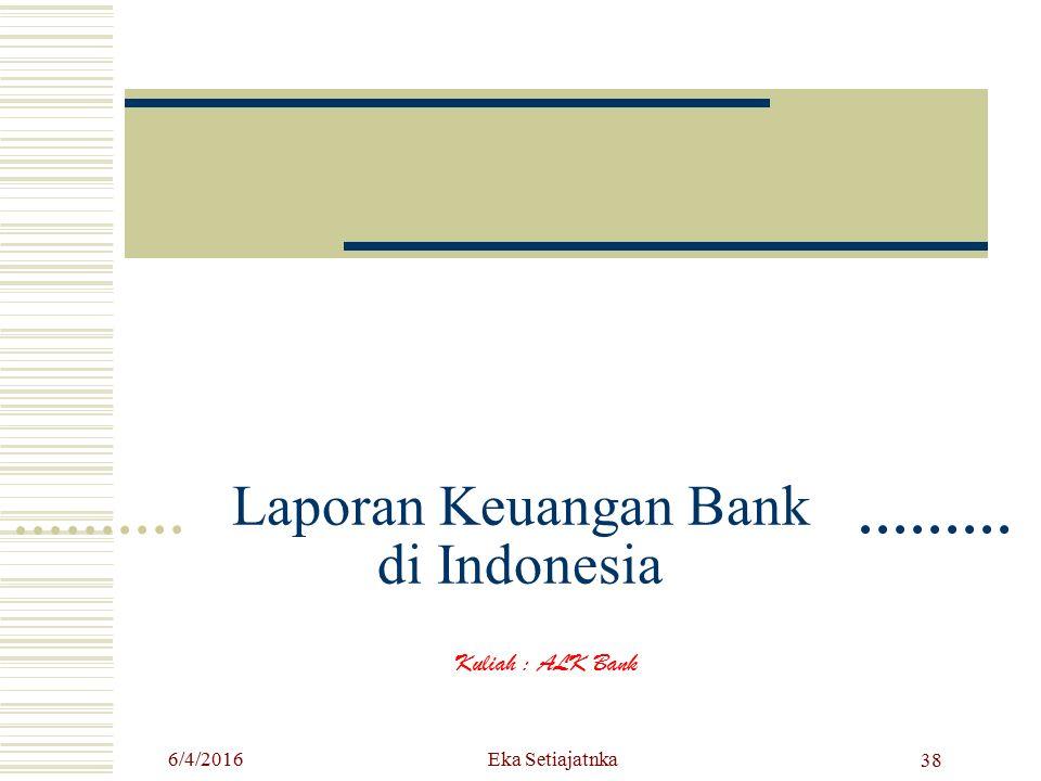 Laporan Keuangan Bank di Indonesia Kuliah : ALK Bank Eka Setiajatnka6/4/2016 38
