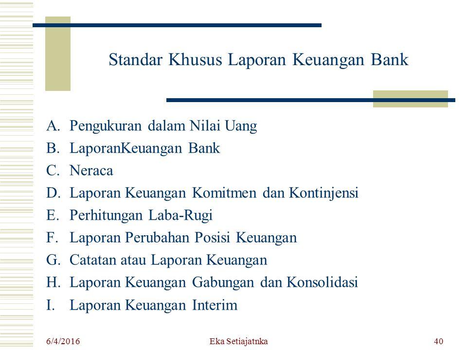 Standar Khusus Laporan Keuangan Bank A.Pengukuran dalam Nilai Uang B.LaporanKeuangan Bank C.Neraca D.Laporan Keuangan Komitmen dan Kontinjensi E.Perhi