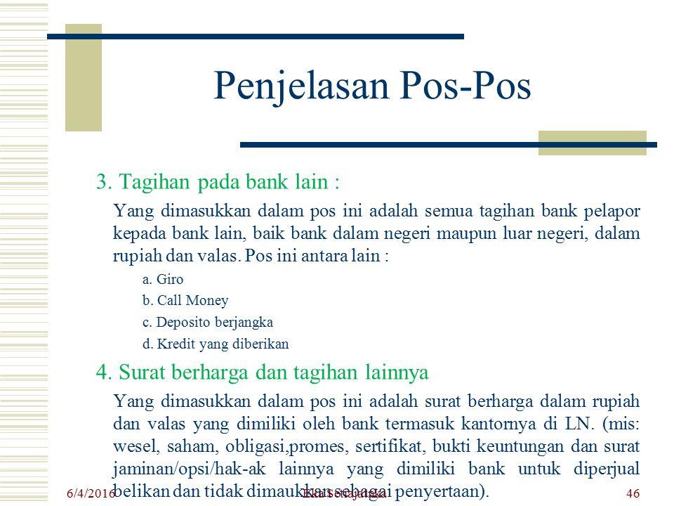 Penjelasan Pos-Pos 3. Tagihan pada bank lain : Yang dimasukkan dalam pos ini adalah semua tagihan bank pelapor kepada bank lain, baik bank dalam neger