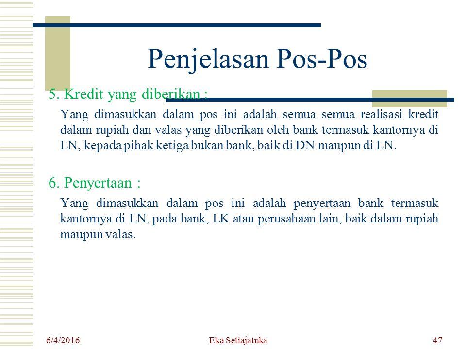 Penjelasan Pos-Pos 5. Kredit yang diberikan : Yang dimasukkan dalam pos ini adalah semua semua realisasi kredit dalam rupiah dan valas yang diberikan