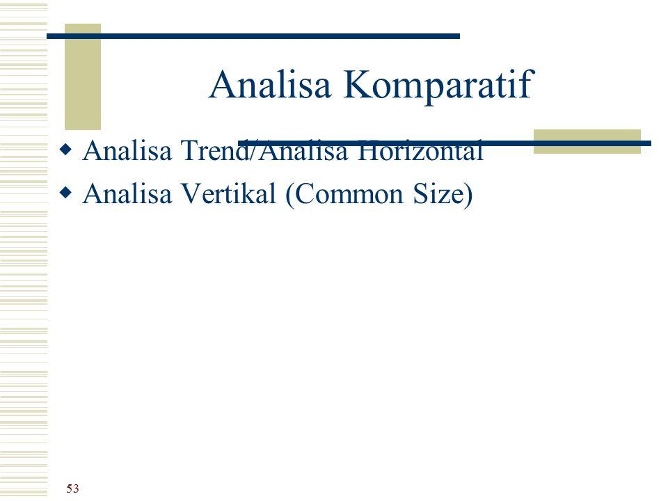 Analisa Komparatif  Analisa Trend/Analisa Horizontal  Analisa Vertikal (Common Size) 53