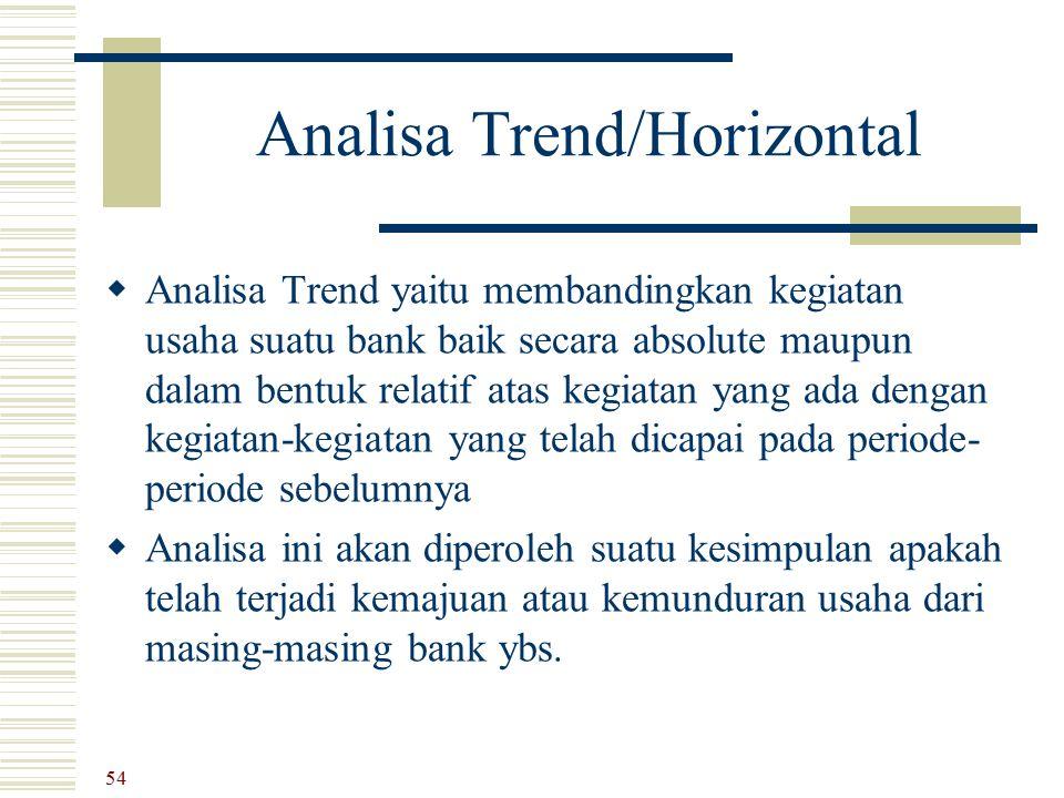 Analisa Trend/Horizontal  Analisa Trend yaitu membandingkan kegiatan usaha suatu bank baik secara absolute maupun dalam bentuk relatif atas kegiatan