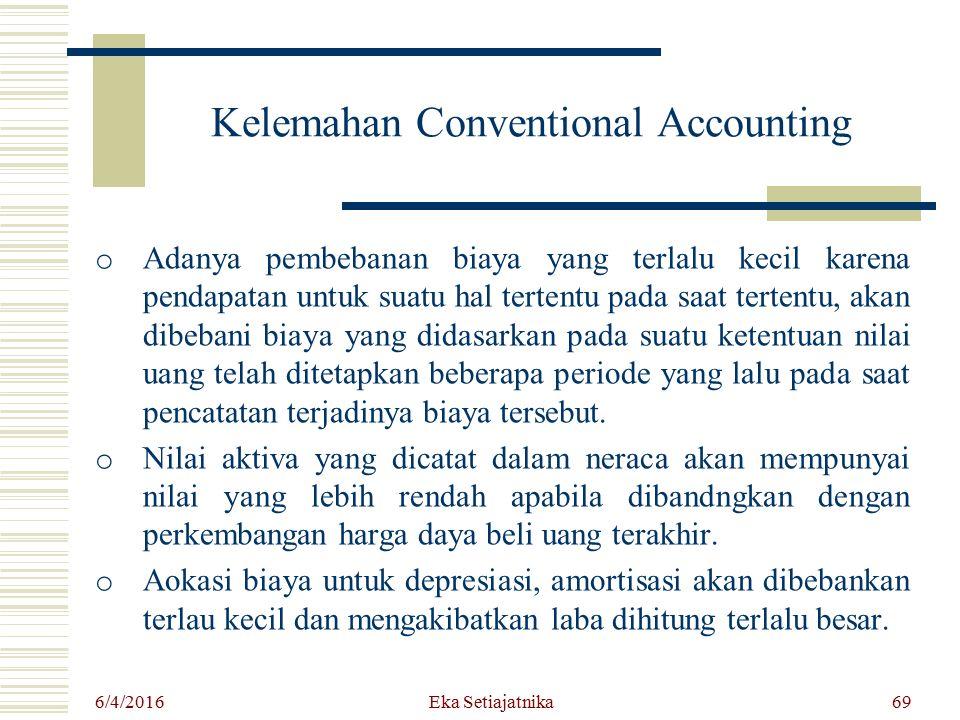 Kelemahan Conventional Accounting o Adanya pembebanan biaya yang terlalu kecil karena pendapatan untuk suatu hal tertentu pada saat tertentu, akan dib