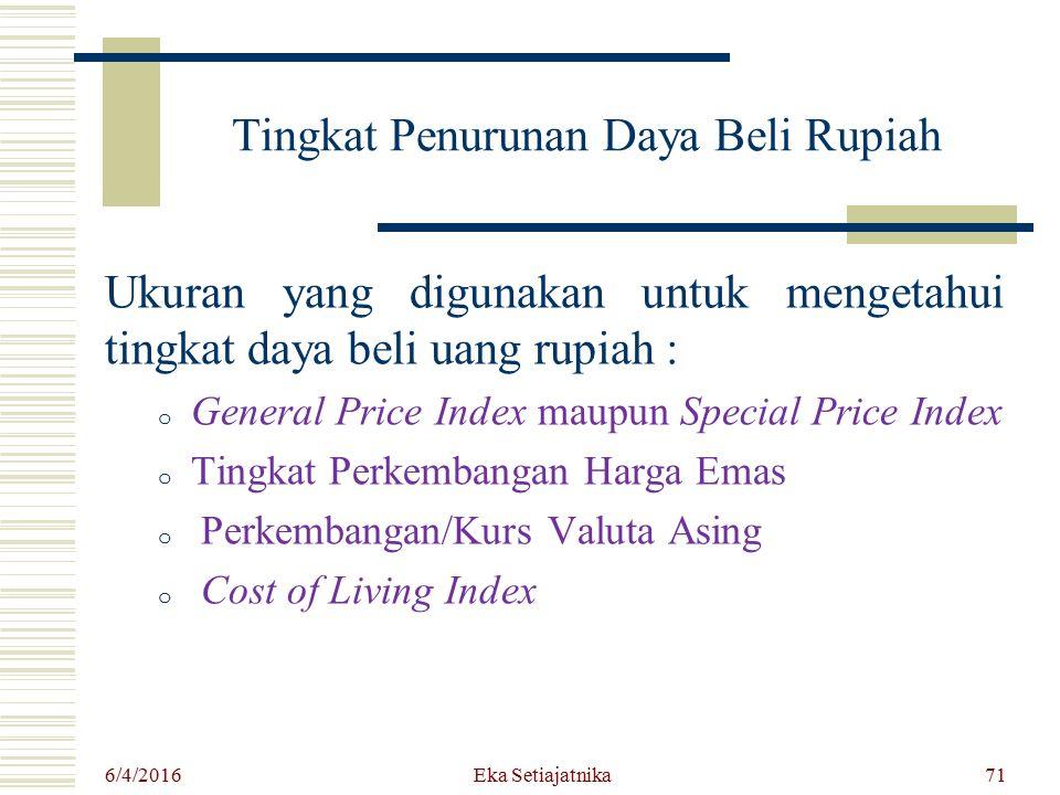 Tingkat Penurunan Daya Beli Rupiah Ukuran yang digunakan untuk mengetahui tingkat daya beli uang rupiah : o General Price Index maupun Special Price I
