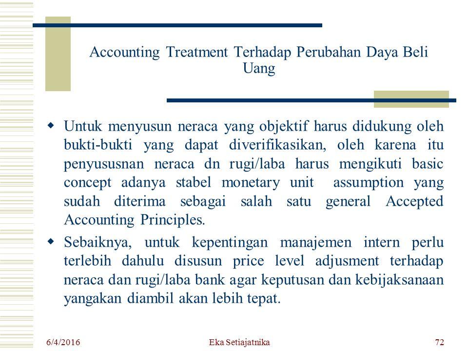Accounting Treatment Terhadap Perubahan Daya Beli Uang  Untuk menyusun neraca yang objektif harus didukung oleh bukti-bukti yang dapat diverifikasika