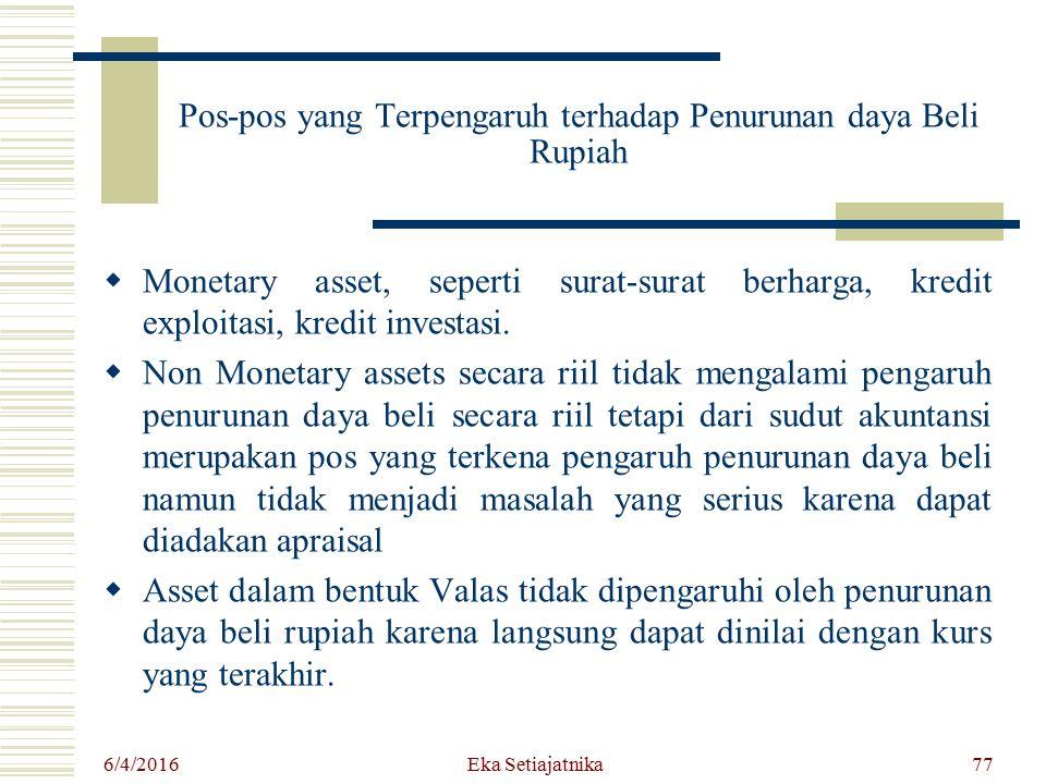 Pos-pos yang Terpengaruh terhadap Penurunan daya Beli Rupiah  Monetary asset, seperti surat-surat berharga, kredit exploitasi, kredit investasi.  No