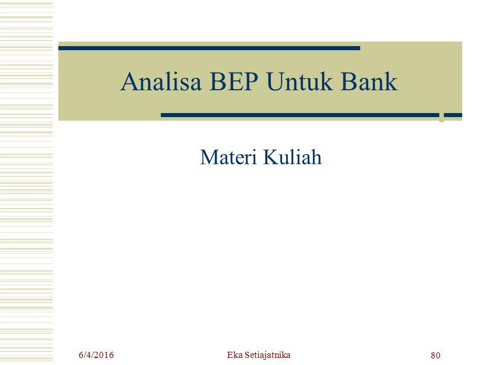 Analisa BEP Untuk Bank Materi Kuliah 6/4/2016 80