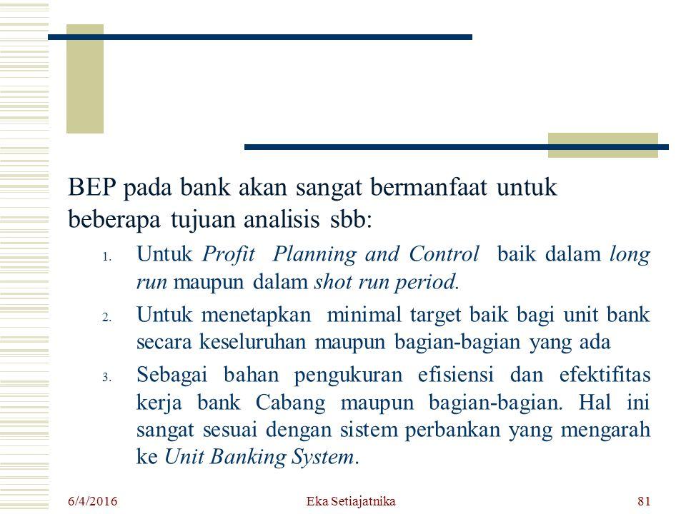 BEP pada bank akan sangat bermanfaat untuk beberapa tujuan analisis sbb: 1. Untuk Profit Planning and Control baik dalam long run maupun dalam shot ru