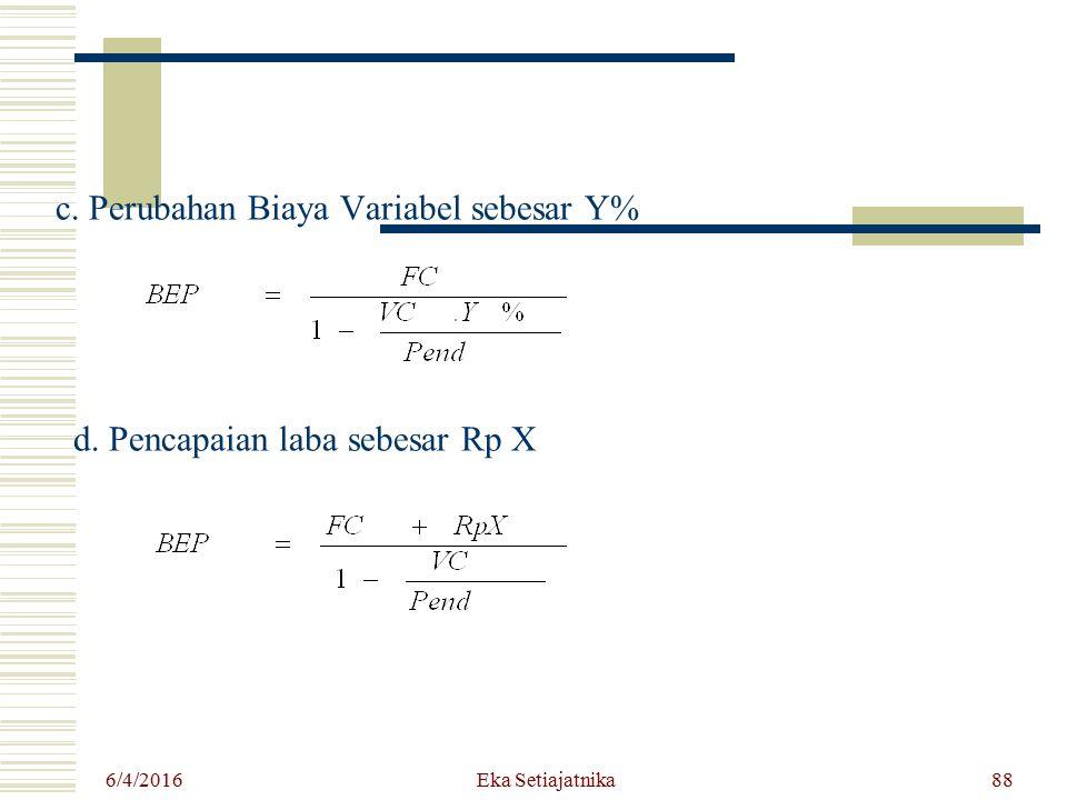6/4/2016 Eka Setiajatnika88 c. Perubahan Biaya Variabel sebesar Y% d. Pencapaian laba sebesar Rp X
