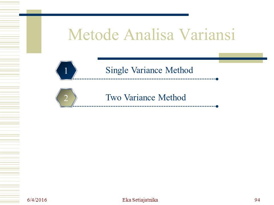 Metode Analisa Variansi Single Variance Method 1 Two Variance Method 2 3 4 6/4/2016 94Eka Setiajatnika