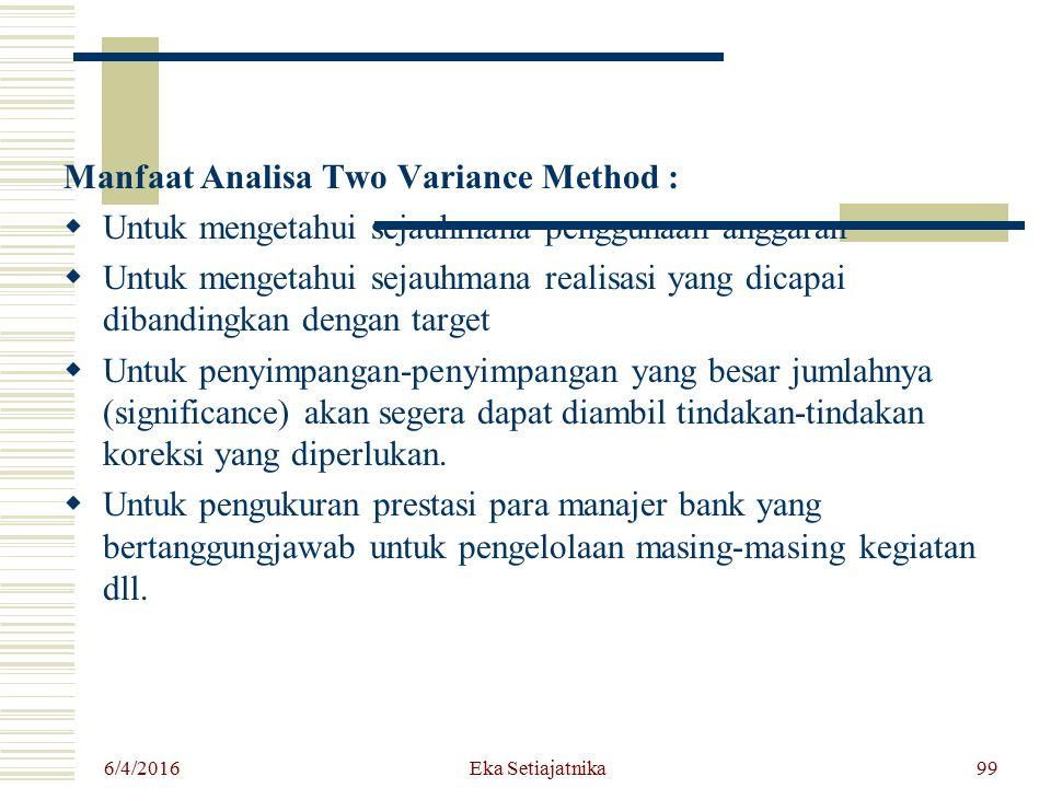 Manfaat Analisa Two Variance Method :  Untuk mengetahui sejauhmana penggunaan anggaran  Untuk mengetahui sejauhmana realisasi yang dicapai dibanding