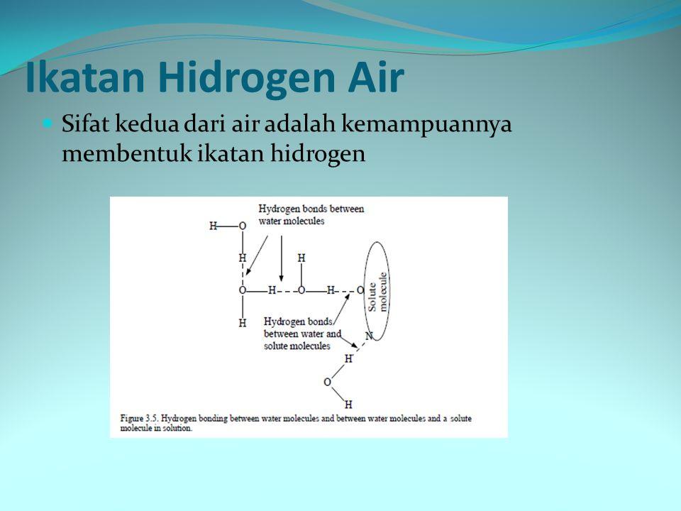 Ikatan Hidrogen Air Sifat kedua dari air adalah kemampuannya membentuk ikatan hidrogen
