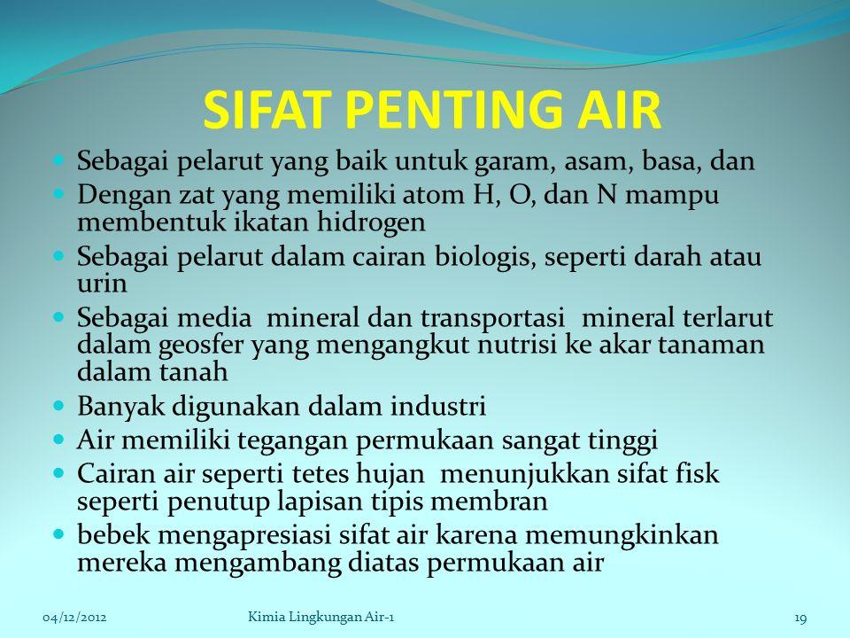 SIFAT PENTING AIR Sebagai pelarut yang baik untuk garam, asam, basa, dan Dengan zat yang memiliki atom H, O, dan N mampu membentuk ikatan hidrogen Seb