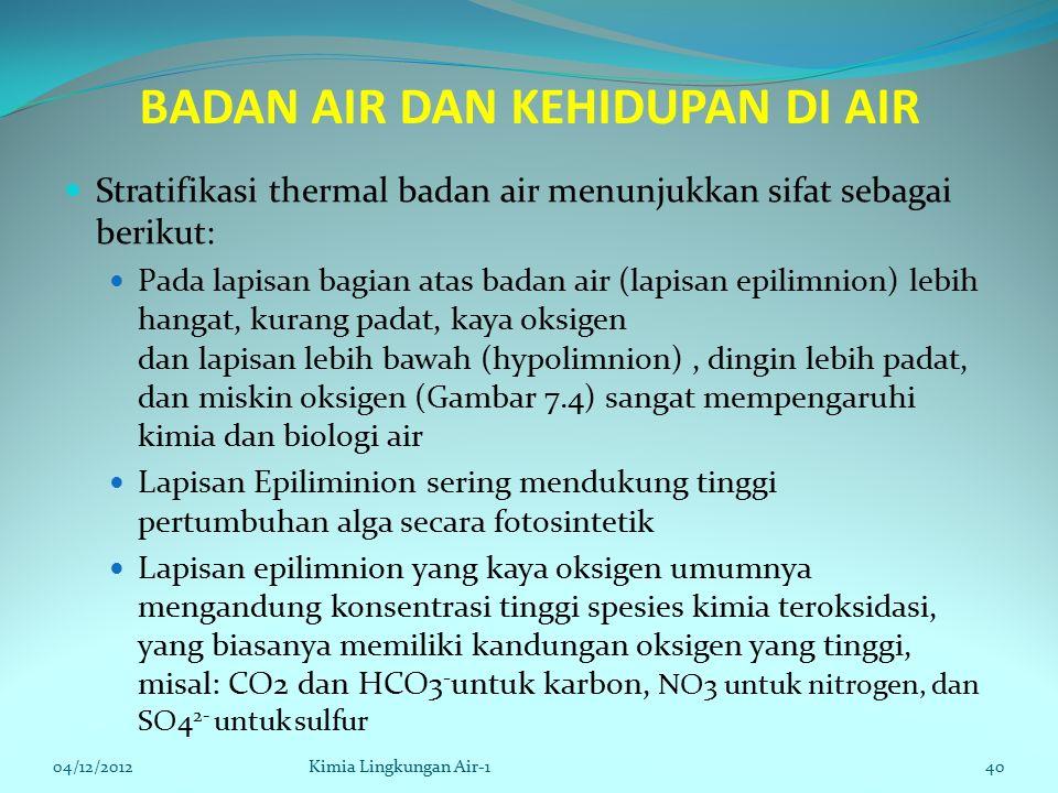 BADAN AIR DAN KEHIDUPAN DI AIR Stratifikasi thermal badan air menunjukkan sifat sebagai berikut: Pada lapisan bagian atas badan air (lapisan epilimnion) lebih hangat, kurang padat, kaya oksigen dan lapisan lebih bawah (hypolimnion), dingin lebih padat, dan miskin oksigen (Gambar 7.4) sangat mempengaruhi kimia dan biologi air Lapisan Epiliminion sering mendukung tinggi pertumbuhan alga secara fotosintetik Lapisan epilimnion yang kaya oksigen umumnya mengandung konsentrasi tinggi spesies kimia teroksidasi, yang biasanya memiliki kandungan oksigen yang tinggi, misal: CO2 dan HCO3 - untuk karbon, NO3 untuk nitrogen, dan SO4 2- untuk sulfur 04/12/2012Kimia Lingkungan Air-140