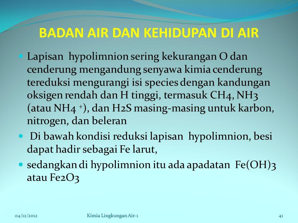 BADAN AIR DAN KEHIDUPAN DI AIR Lapisan hypolimnion sering kekurangan O dan cenderung mengandung senyawa kimia cenderung tereduksi mengurangi isi species dengan kandungan oksigen rendah dan H tinggi, termasuk CH4, NH3 (atau NH4 + ), dan H2S masing-masing untuk karbon, nitrogen, dan beleran Di bawah kondisi reduksi lapisan hypolimnion, besi dapat hadir sebagai Fe larut, sedangkan di hypolimnion itu ada apadatan Fe(OH)3 atau Fe2O3 04/12/2012Kimia Lingkungan Air-141