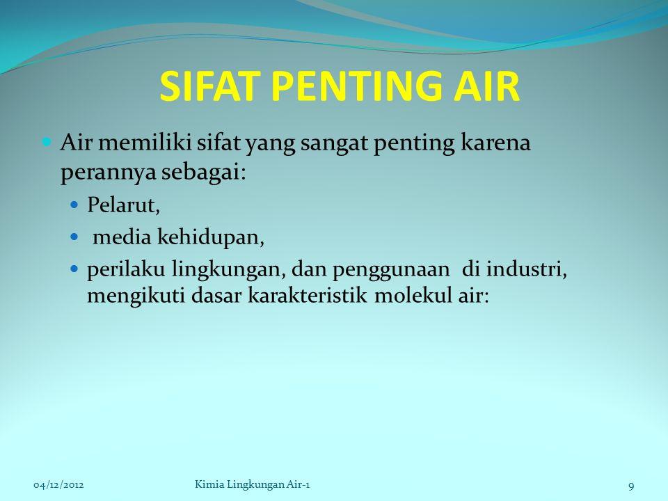 SIFAT PENTING AIR Air memiliki sifat yang sangat penting karena perannya sebagai: Pelarut, media kehidupan, perilaku lingkungan, dan penggunaan di industri, mengikuti dasar karakteristik molekul air: 04/12/2012Kimia Lingkungan Air-19