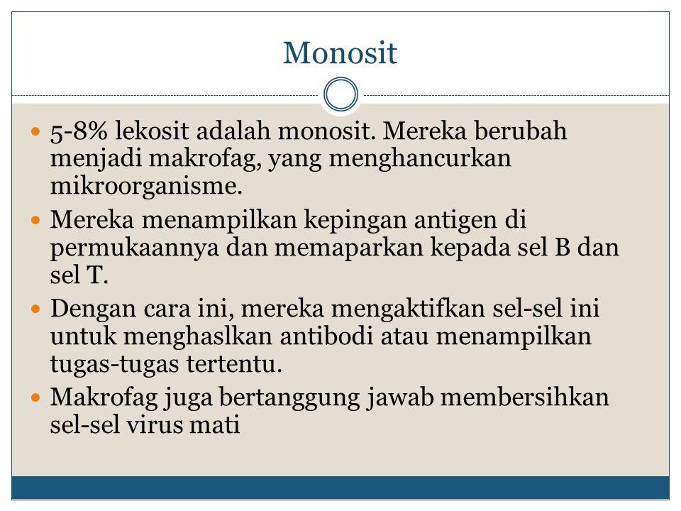 Monosit 5-8% lekosit adalah monosit. Mereka berubah menjadi makrofag, yang menghancurkan mikroorganisme. Mereka menampilkan kepingan antigen di permuk
