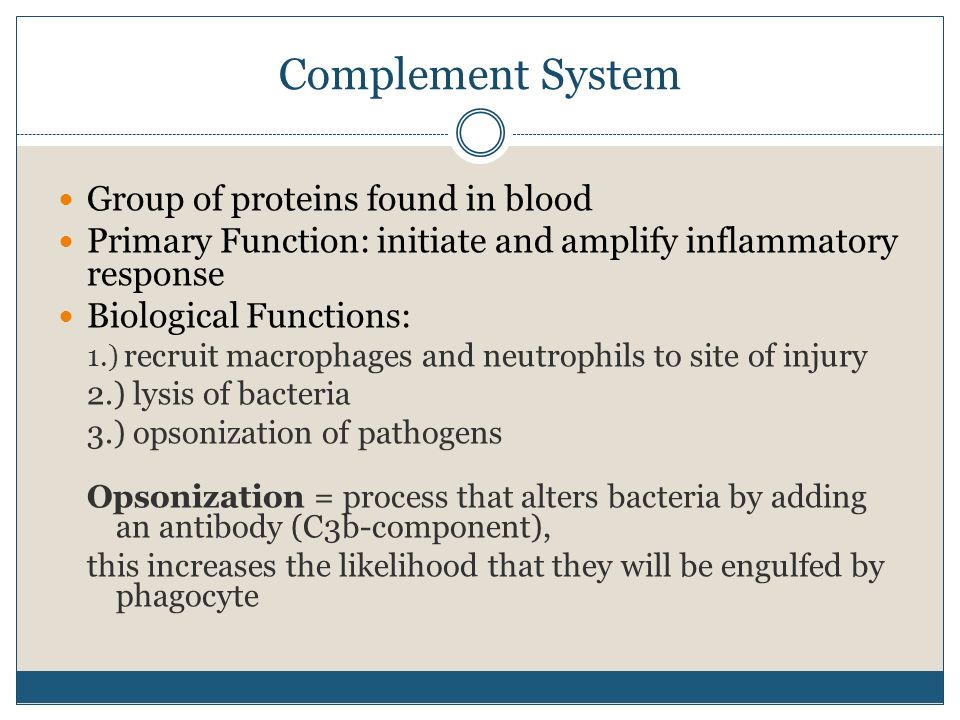 Complement System Group of proteins found in blood Primary Function: initiate and amplify inflammatory response Biological Functions: 1.) recruit macr