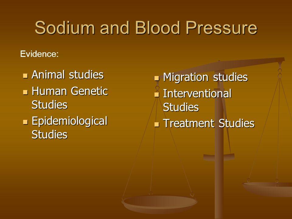 Sodium and Blood Pressure Animal studies Animal studies Human Genetic Studies Human Genetic Studies Epidemiological Studies Epidemiological Studies Migration studies Migration studies Interventional Studies Interventional Studies Treatment Studies Treatment Studies Evidence: