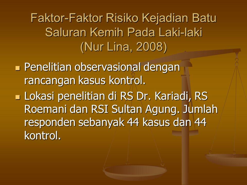 Faktor-Faktor Risiko Kejadian Batu Saluran Kemih Pada Laki-laki (Nur Lina, 2008) Penelitian observasional dengan rancangan kasus kontrol.