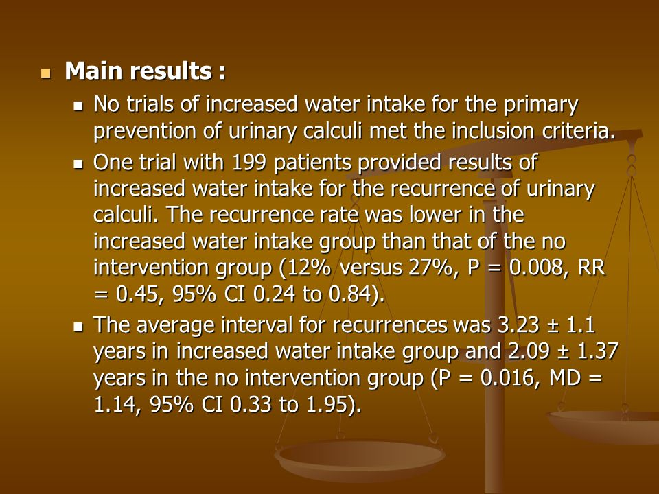 Main results : Main results : No trials of increased water intake for the primary prevention of urinary calculi met the inclusion criteria.
