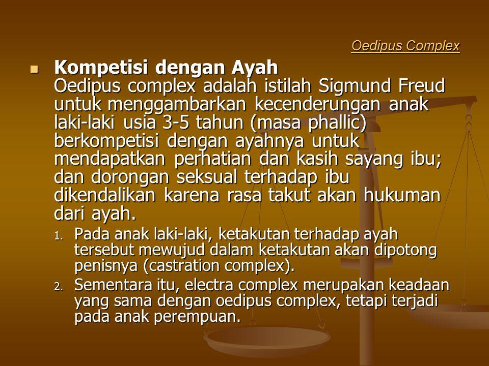 Oedipus Complex Oedipus Complex Kompetisi dengan Ayah Oedipus complex adalah istilah Sigmund Freud untuk menggambarkan kecenderungan anak laki-laki us