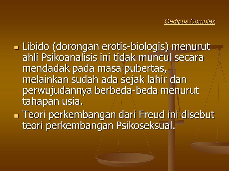 Oedipus Complex Oedipus Complex Libido (dorongan erotis-biologis) menurut ahli Psikoanalisis ini tidak muncul secara mendadak pada masa pubertas, mela