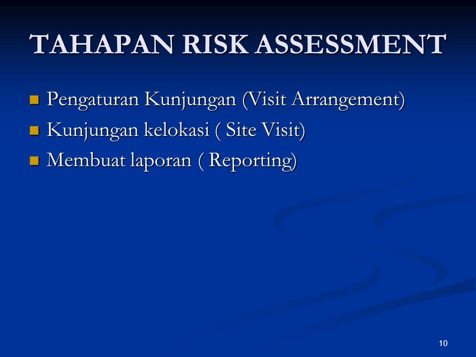 10 TAHAPAN RISK ASSESSMENT Pengaturan Kunjungan (Visit Arrangement) Pengaturan Kunjungan (Visit Arrangement) Kunjungan kelokasi ( Site Visit) Kunjungan kelokasi ( Site Visit) Membuat laporan ( Reporting) Membuat laporan ( Reporting)