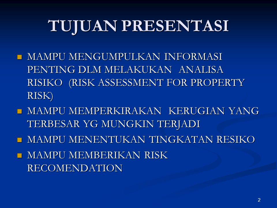 2 TUJUAN PRESENTASI MAMPU MENGUMPULKAN INFORMASI PENTING DLM MELAKUKAN ANALISA RISIKO (RISK ASSESSMENT FOR PROPERTY RISK) MAMPU MENGUMPULKAN INFORMASI PENTING DLM MELAKUKAN ANALISA RISIKO (RISK ASSESSMENT FOR PROPERTY RISK) MAMPU MEMPERKIRAKAN KERUGIAN YANG TERBESAR YG MUNGKIN TERJADI MAMPU MEMPERKIRAKAN KERUGIAN YANG TERBESAR YG MUNGKIN TERJADI MAMPU MENENTUKAN TINGKATAN RESIKO MAMPU MENENTUKAN TINGKATAN RESIKO MAMPU MEMBERIKAN RISK RECOMENDATION MAMPU MEMBERIKAN RISK RECOMENDATION