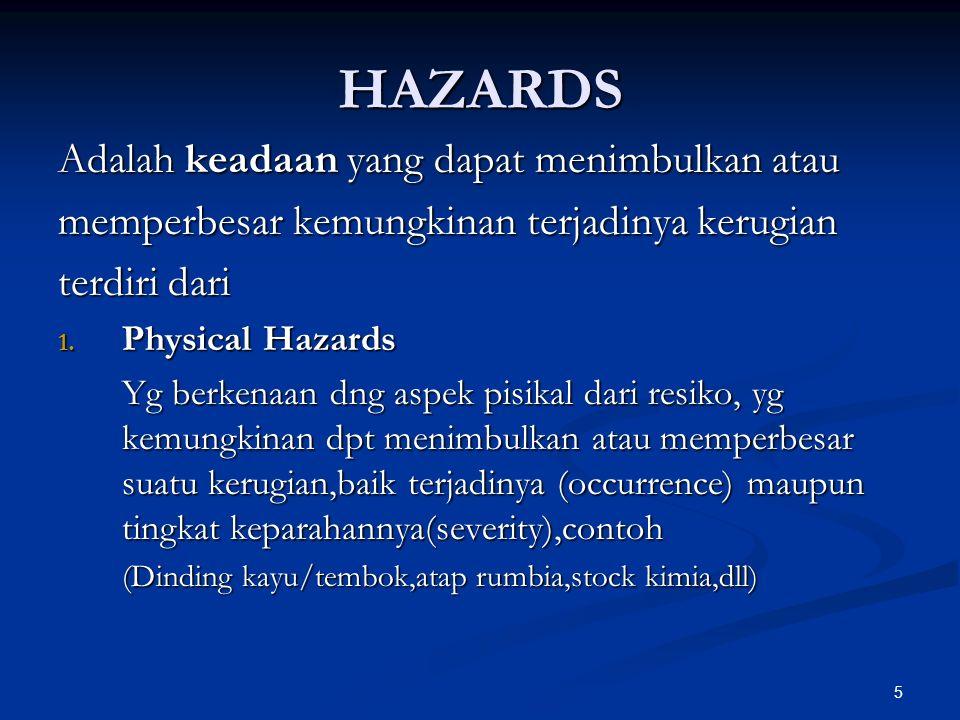 5 HAZARDS Adalah keadaan yang dapat menimbulkan atau memperbesar kemungkinan terjadinya kerugian terdiri dari 1.