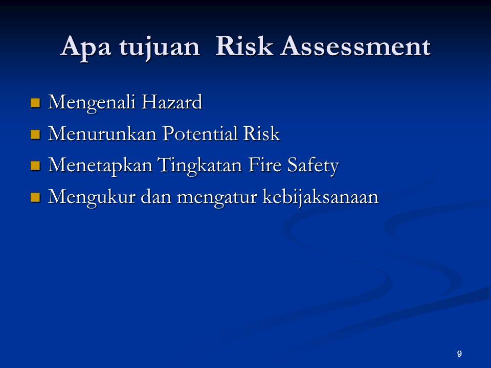 9 Apa tujuan Risk Assessment Mengenali Hazard Mengenali Hazard Menurunkan Potential Risk Menurunkan Potential Risk Menetapkan Tingkatan Fire Safety Menetapkan Tingkatan Fire Safety Mengukur dan mengatur kebijaksanaan Mengukur dan mengatur kebijaksanaan