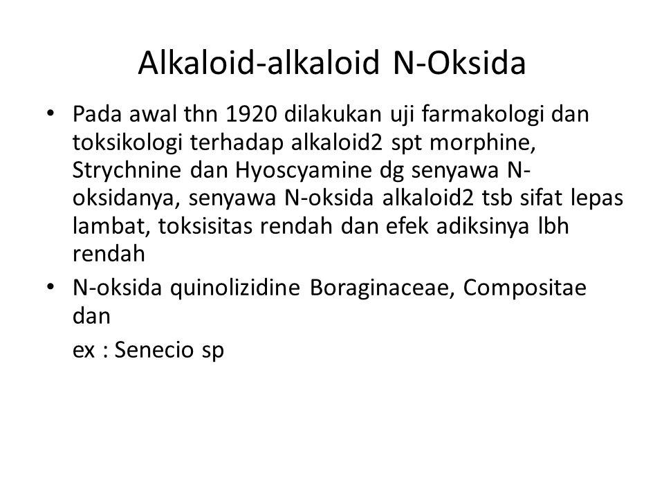 Alkaloid-alkaloid N-Oksida Pada awal thn 1920 dilakukan uji farmakologi dan toksikologi terhadap alkaloid2 spt morphine, Strychnine dan Hyoscyamine dg
