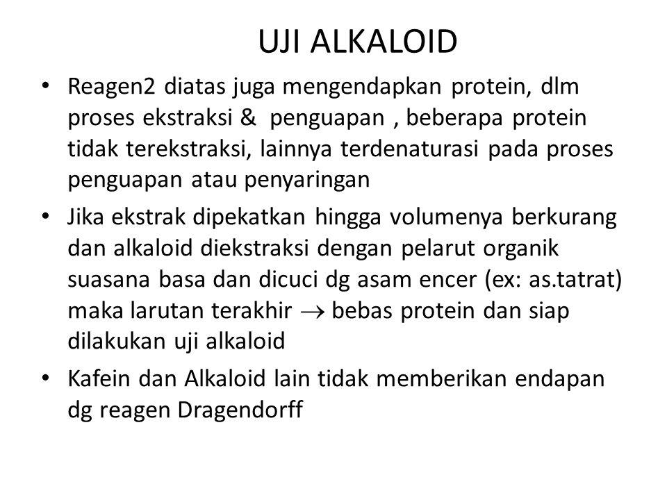 UJI ALKALOID Reagen2 diatas juga mengendapkan protein, dlm proses ekstraksi & penguapan, beberapa protein tidak terekstraksi, lainnya terdenaturasi pa