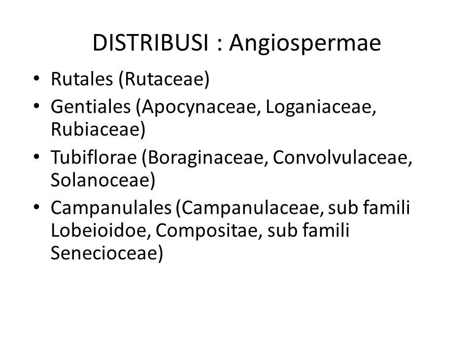 DISTRIBUSI : Angiospermae Rutales (Rutaceae) Gentiales (Apocynaceae, Loganiaceae, Rubiaceae) Tubiflorae (Boraginaceae, Convolvulaceae, Solanoceae) Cam