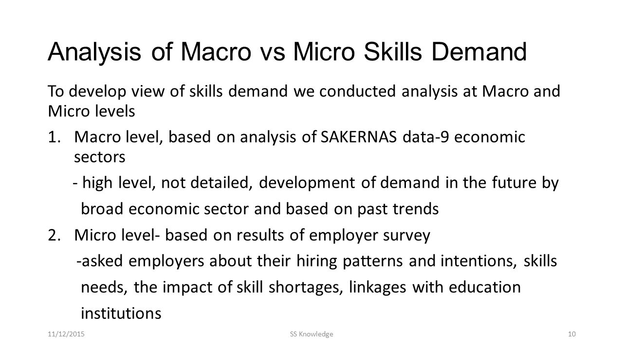Analysis of Macro vs Micro Skills Demand To develop view of skills demand we conducted analysis at Macro and Micro levels 1.Macro level, based on analysis of SAKERNAS data-9 economic sectors - high level, not detailed, development of demand in the future by broad economic sector and based on past trends 2.Micro level- based on results of employer survey -asked employers about their hiring patterns and intentions, skills needs, the impact of skill shortages, linkages with education institutions 11/12/2015SS Knowledge10