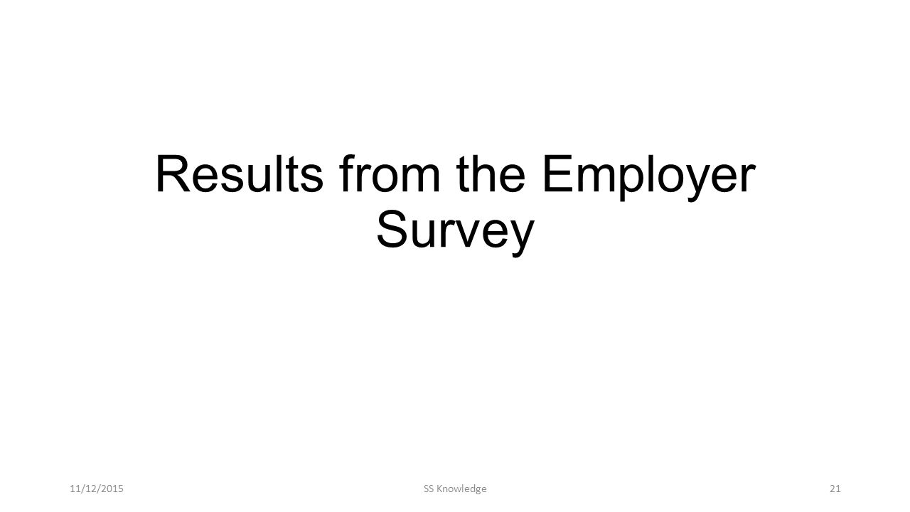 Results from the Employer Survey 11/12/2015SS Knowledge21