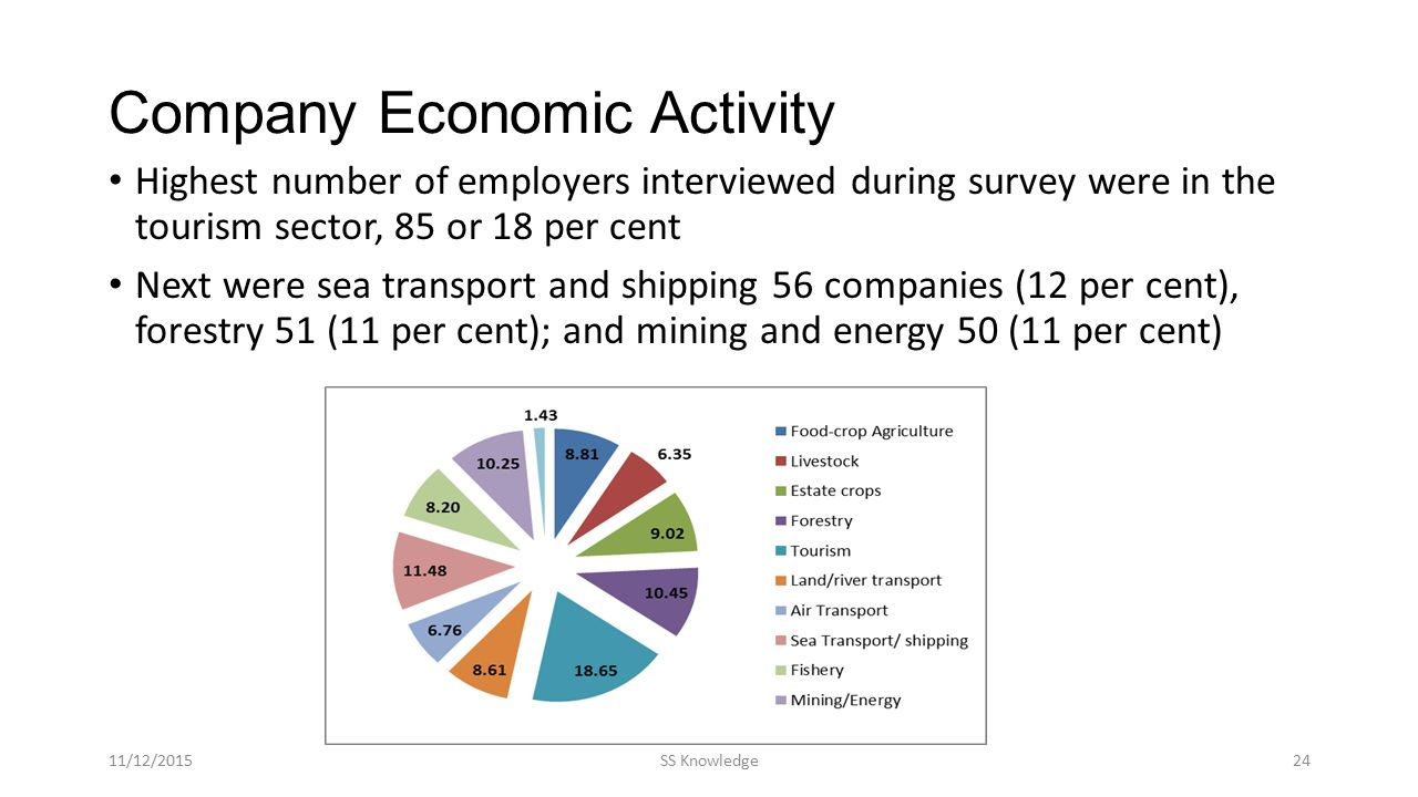 Company Economic Activity Highest number of employers interviewed during survey were in the tourism sector, 85 or 18 per cent Next were sea transport and shipping 56 companies (12 per cent), forestry 51 (11 per cent); and mining and energy 50 (11 per cent) 11/12/2015SS Knowledge24