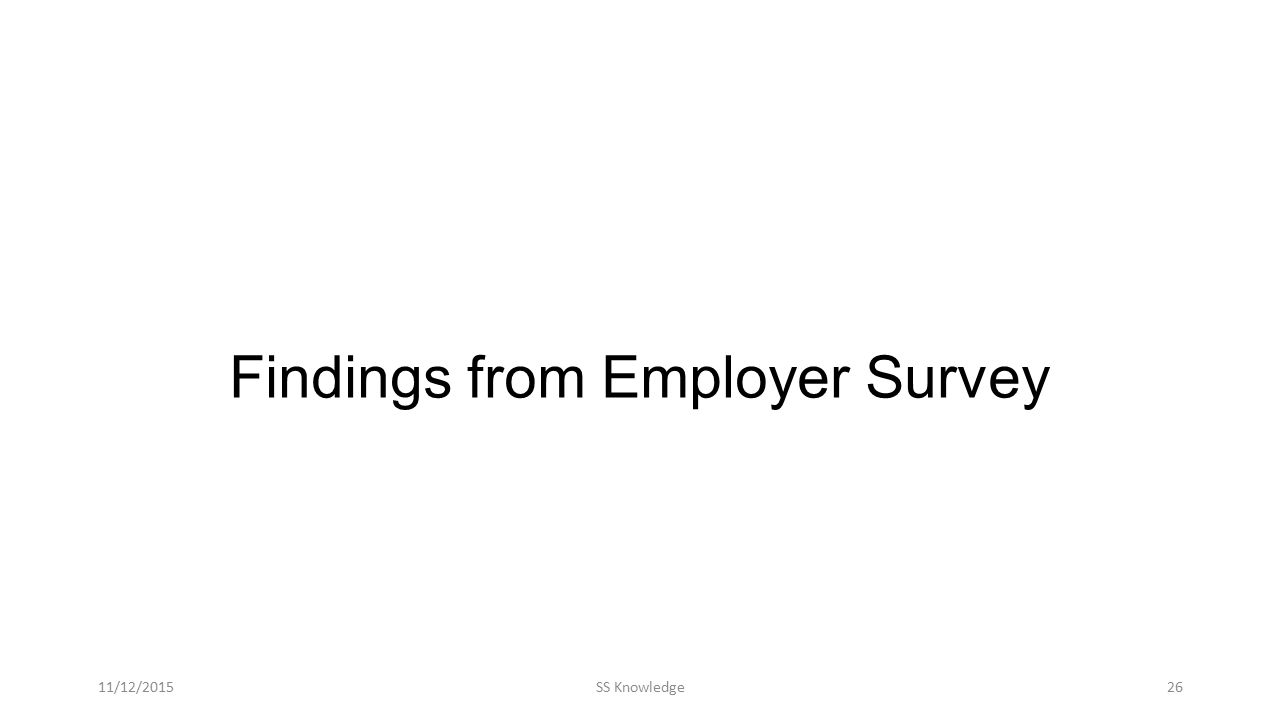 Findings from Employer Survey 11/12/2015SS Knowledge26