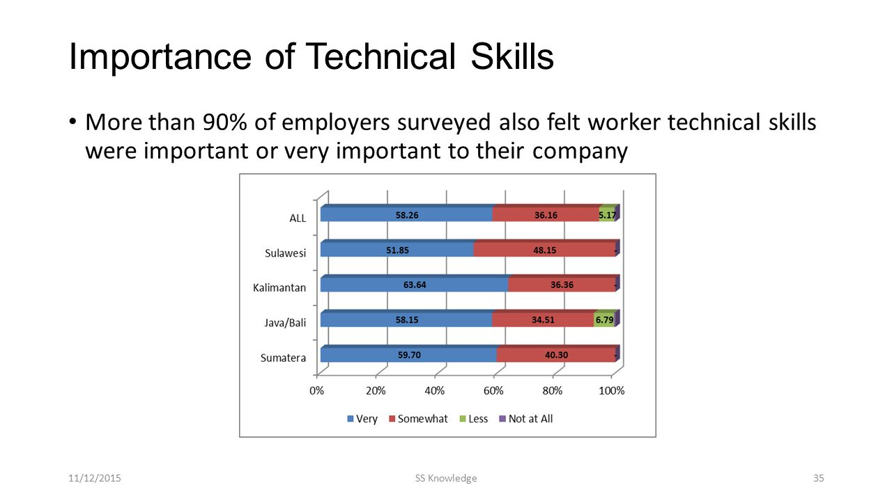 Importance of Technical Skills More than 90% of employers surveyed also felt worker technical skills were important or very important to their company