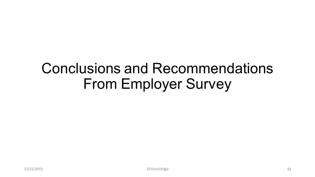 Conclusions and Recommendations From Employer Survey 11/12/2015SS Knowledge44