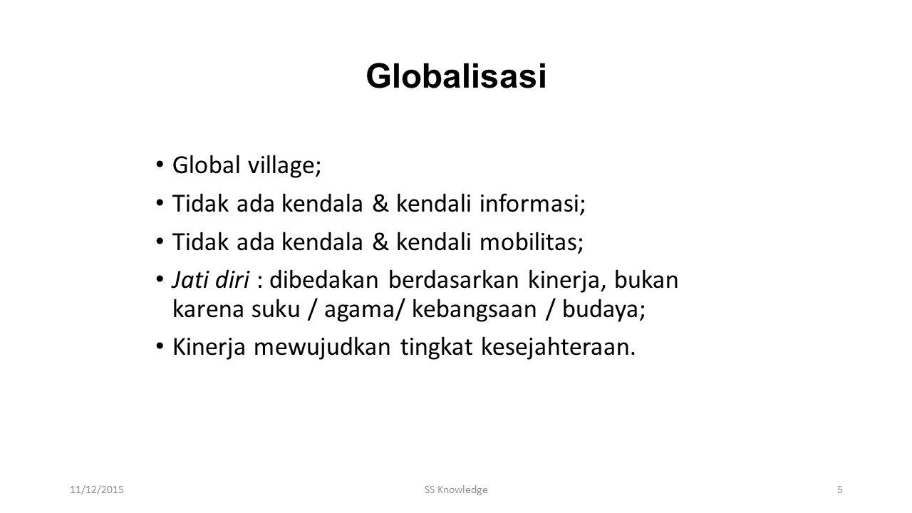 Globalisasi Global village; Tidak ada kendala & kendali informasi; Tidak ada kendala & kendali mobilitas; Jati diri : dibedakan berdasarkan kinerja, bukan karena suku / agama/ kebangsaan / budaya; Kinerja mewujudkan tingkat kesejahteraan.