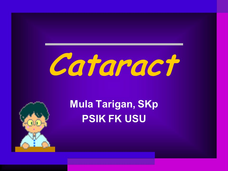 Nuclear cataract Early onset (after middle age) The earliest symptom may be improved near vision without glasses ( second sight ) Other symptoms may include poor hue discrimination or monocular diplopia.