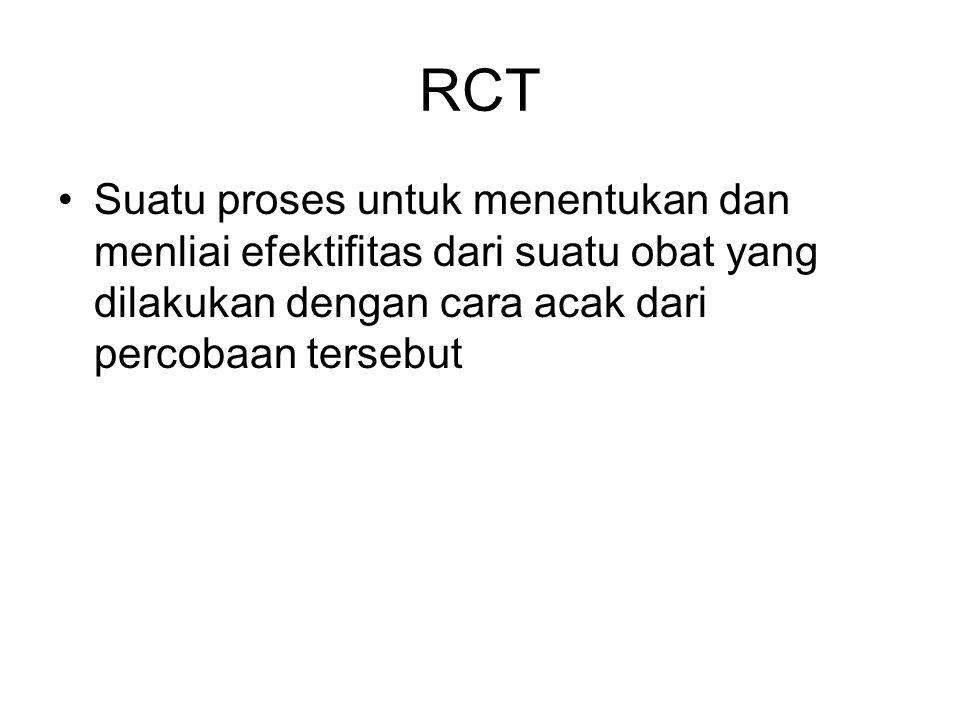 RCT Suatu proses untuk menentukan dan menliai efektifitas dari suatu obat yang dilakukan dengan cara acak dari percobaan tersebut