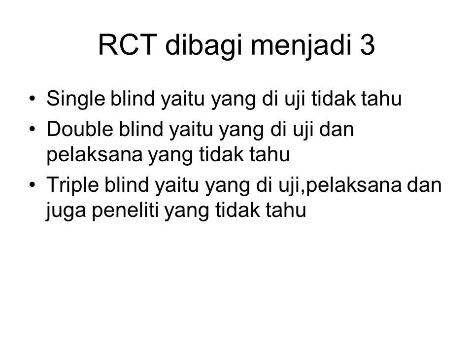 RCT dibagi menjadi 3 Single blind yaitu yang di uji tidak tahu Double blind yaitu yang di uji dan pelaksana yang tidak tahu Triple blind yaitu yang di uji,pelaksana dan juga peneliti yang tidak tahu