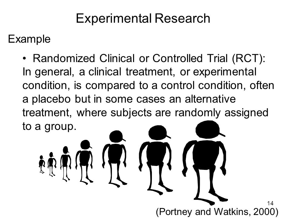 Experimental Research Example Randomized Clinical or Controlled Trial (RCT): In general, a clinical treatment, or experimental condition, is compared