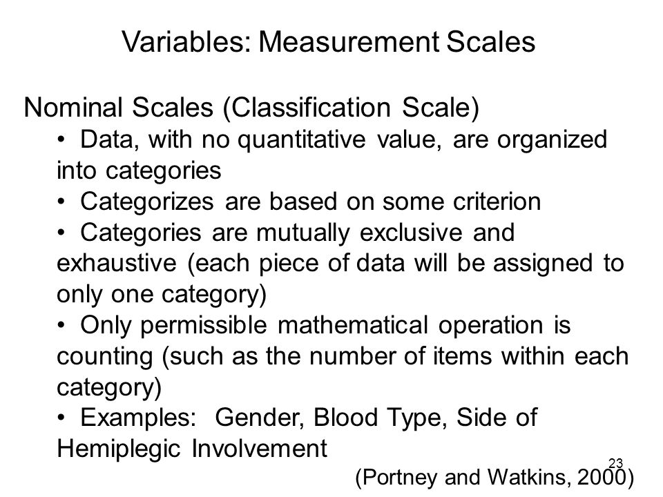 Variables: Measurement Scales Nominal Scales (Classification Scale) Data, with no quantitative value, are organized into categories Categorizes are ba