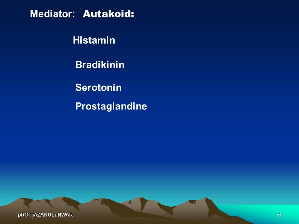 pROF jAZANUL aNWAR8 Mediator: Autakoid: Histamin Bradikinin Serotonin Prostaglandine