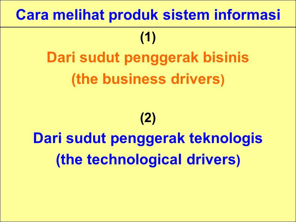 Tunggal M. Cara melihat produk sistem informasi (1) Dari sudut penggerak bisinis (the business drivers ) (2) Dari sudut penggerak teknologis (the tech