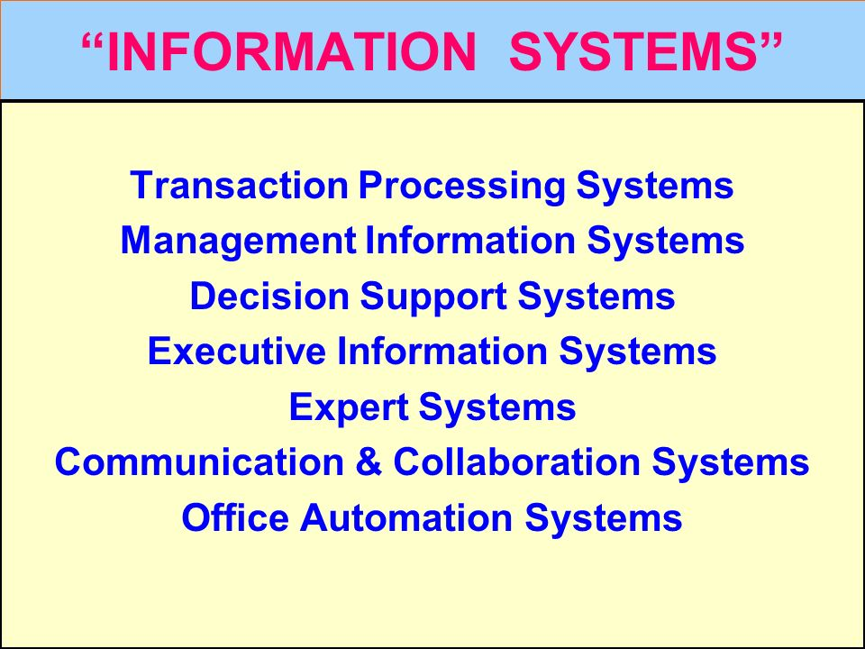 "Tunggal M. ""INFORMATION SYSTEMS"" Transaction Processing Systems Management Information Systems Decision Support Systems Executive Information Systems"