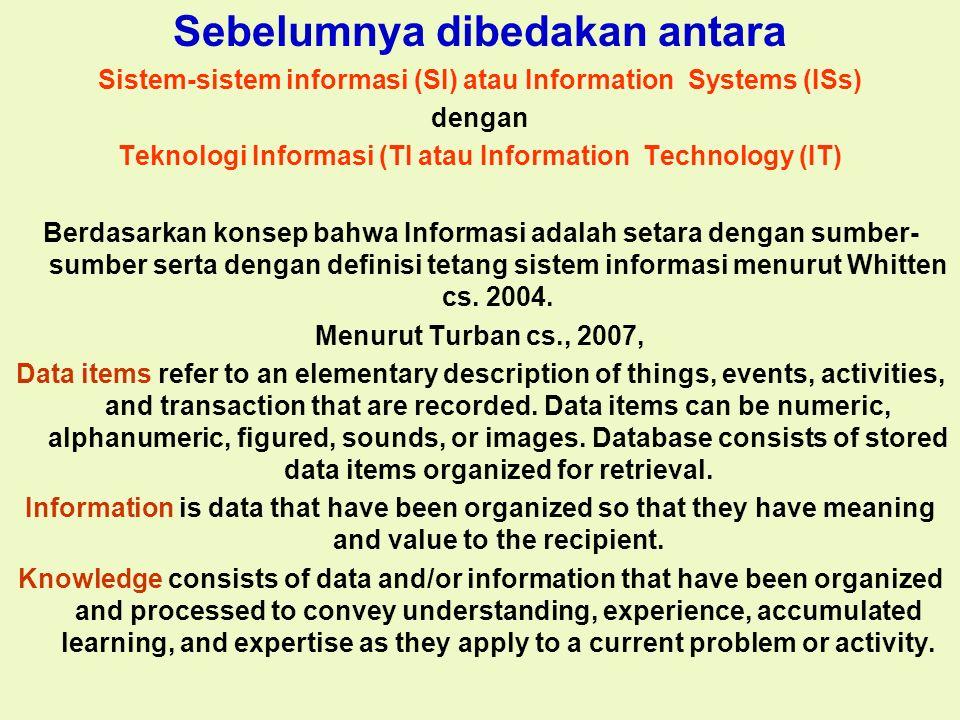 Tunggal M. Sebelumnya dibedakan antara Sistem-sistem informasi (SI) atau Information Systems (ISs) dengan Teknologi Informasi (TI atau Information Tec